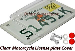 New Clear Motorcycle Bubble License Plate Cover Bug Shield Plastic Tag Protector