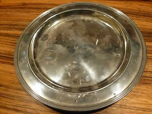 Great Vintage Plymouth Ks Pewter Plate Charger 9 Wide Usa Y7 W6 A8