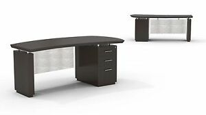 Mayline Sterling Bow Front Desk With Bbf Pedestal In Textured Mocha Finish