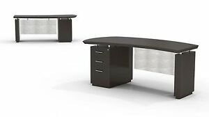 Mayline Sterling Bow Front Desk W Bbf Pedestal On Left In Textured Mocha Finish