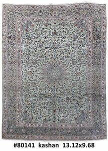 Signed Authentic 10x13 Persian Kashan Rug Handmade Iran Organic Wool L Green