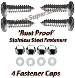 Stainless Steel License Plate Frame Cover Rust Proof Fastener Screw Chrome Caps