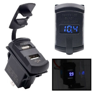 Dual Usb Car Boat Socket Rocker Switch Panel With Voltage Voltmeter Blue 12v New