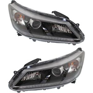Headlight Set For 2013 2015 Honda Accord Sedan Left And Right With Bulb 2pc