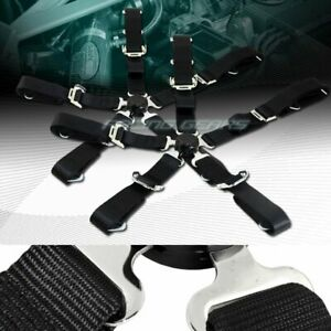 2 X Durable Nylon 5 Point Cam Lock Safety Harness 2 Black Seat Belt Universal 2