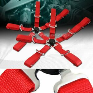 2 X Durable Nylon 5 point Cam Lock Safety Harness 2 Red Seat Belt Universal 4