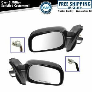 Power Side View Mirrors Black Left Right Pair Set For 03 08 Toyota Corolla