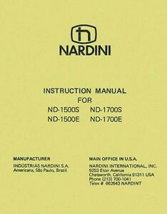 Nardini Nd 1500 And Nd 1700 S E Lathe Manual