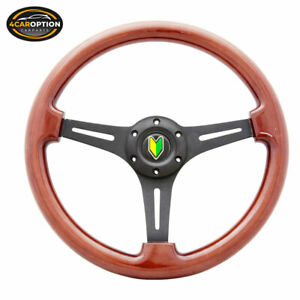 14 Inch 350mm Wooden Steering Wheel Classic Wood Grain Sport Black Spoke Horn