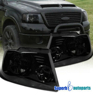 For 2004 2008 Ford F150 Headlights Head Lamps Smoke Pair Replacement