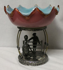 Antique Art Glass Brides Bowl Basket Cased New England Glass