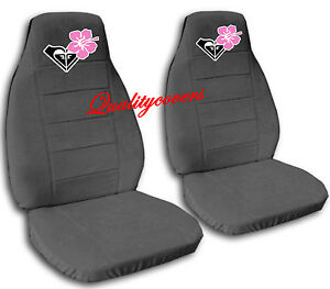 2 Cool Car Seat Covers In Charcoal W pink Hibiscus Cute