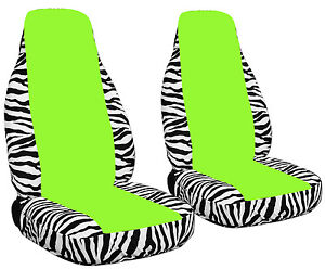 2 Zebra White Car Seat Covers With A Lime Green Center Universal Size