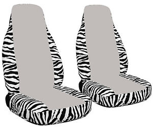 2 Zebra White Seat Covers With A Silver Center Universal Size