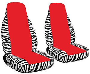 2 White Zebra Seat Covers With A Red Center Universal Size