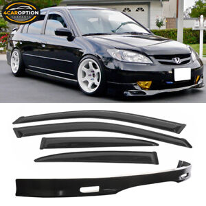 Fit For 01 03 Honda Civic 4dr Spoon Pu Front Bumper Lip Sun Window Visor