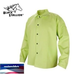 Black Stallion 9 Oz Fr Cotton Welding Coat 30 Lime Green Fl9 30c