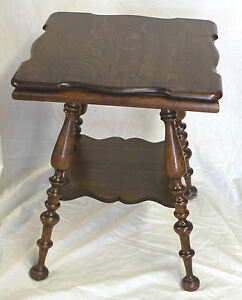 Antique Oak Small Table With Large Turned Legs Solid