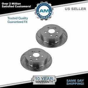 Nakamoto Performance Drilled Slotted Rear Coated Brake Rotor Pair For Toyota