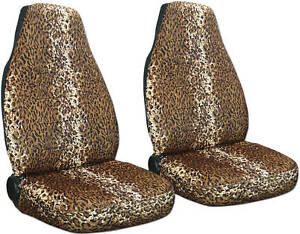 2 Leopard Tan Velvet Car Seat Covers Universal Size