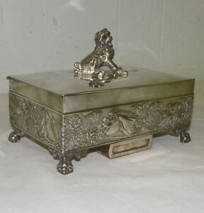 Antique Tufts Silver Plated Humidor With Dog Finial Handle