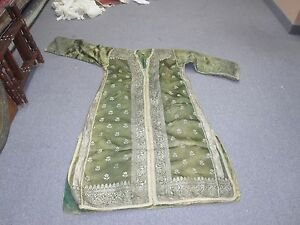 Antique Ottoman European Green Silk Metallic Abaya Robe Caftan