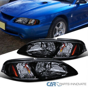 Glossy Black 94 98 Mustang 2in1 Tinted Smoke Lens Headlights corner Signal Lamps