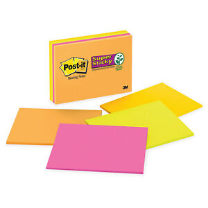48 Post it Notes Super Sticky Large Format Notes 8 X 6 4 Colors 45 sheet Pads