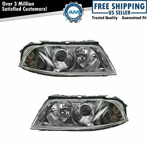 Halogen Headlights Headlamps Left Right Pair Set New For 01 05 Vw Passat