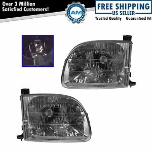 Headlights Headlamps Left Right Pair Set For 00 04 Toyota Tundra Pickup Truck