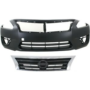 Bumper Cover Kit For 2013 2015 Nissan Altima Base S Sl Sv Front 2 Pieces