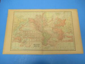 1893 Popular Atlas Map 2 Page The World Nice Color Suitable Frame 13 1 2 X 22