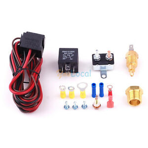 Fan Temperature Switch Sensor Relay Kit Engine Cooling Fan Controller Thermostat