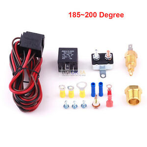 185 200 Degree Electric Cooling Fan Thermostat Temperature Switch Relay Kit 5pin