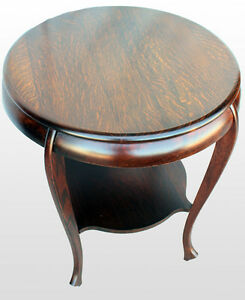 Antique Round Oak Small Table Or Lamp Table Size