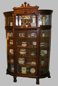 Antique Victorian Oak China Curio Cabinet Claw Feet Canopy