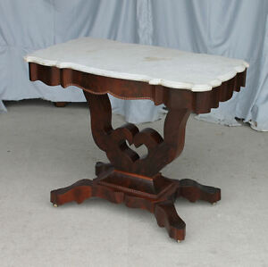 Antique Victorian Marble Top Parlor Table Heart Shaped Base Design