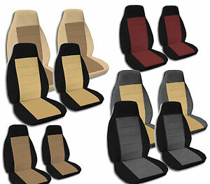 Two Tone Bucket Seat Covers With 2 Armrest Covers For 92 94 Gmc Chevy Trucks