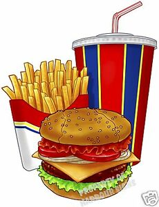 Hamburger Bacon Fries Drink Combo Concession Cart Food Truck Decal 24 Sticker