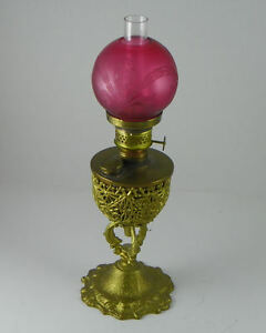 Antique Miniature Junior Banquet Lamp With Satin Cranberry Etched Glass Globe