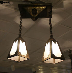 Antique Mission Arts Crafts Brass Hanging Light Fixture 2 Bulbs