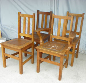 Antique Set Of Four Matching Mission Oak Chairs Made By Limbert Arts