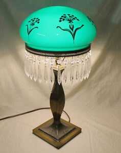 Antique Emerald Green Mushroom Shade Pairpoint Electric Table Lamp