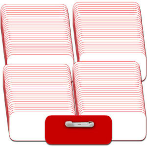 100 Blank 1 1 2 X 3 White Red Name Badge Kit a Tags 1 4 Corners Pins Labels