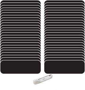 100 Blank 1 X 3 Black White Name Badges Kit a Tags 1 4 Corners Pins