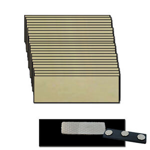 25 Blank Gold Name Badge Kit a 1 X 3 Tags Beveled Edge Magnets Clear Labels