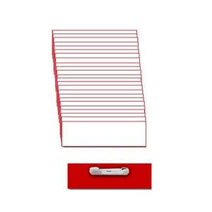 25 Blank 1 X 3 White Red Name Badge Kit a Tags Beveled Pins Clear Labels