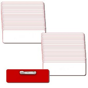 50 Blank 1 X 3 White Red Name Badge Kit a Tags 1 8 Corners Pins Labels