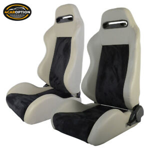 Fits Pair Of Black Gray Pvc Leather Suede Full Reclinable Racing Seats Slider
