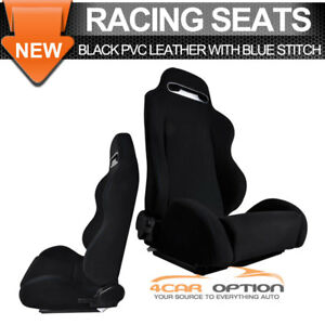 Universal Fit Black Cloth Rs Style Full Reclinable Racing Seats Pair Sliders